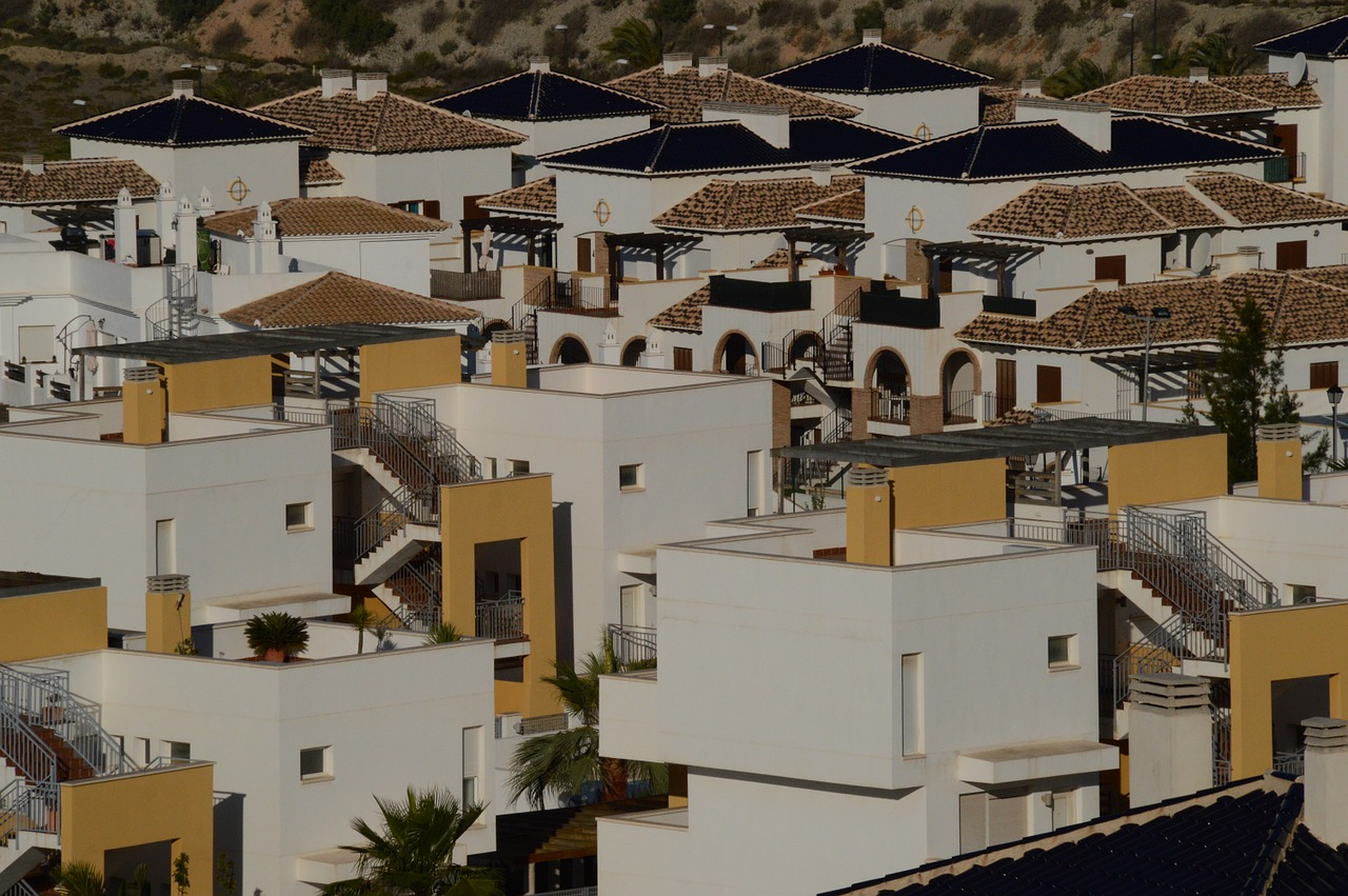 rows of spanish residential buildings