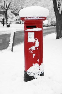 Snow covered letter box