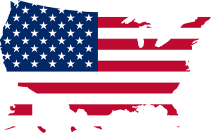 America flag over the country