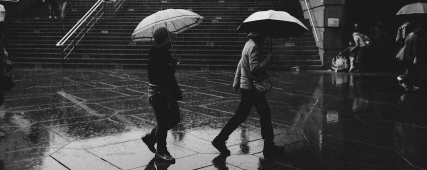 Walking with umbrellas in the rain in the UK
