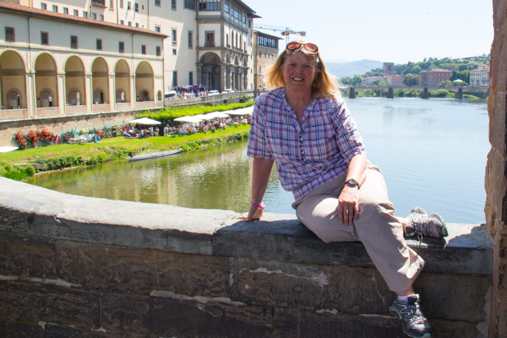 Image of Valery on the ponte vecchio in florence italy