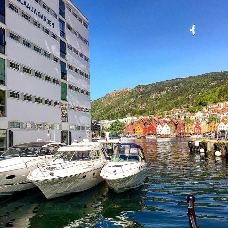 Image of boat in bay at Bergen, Norway