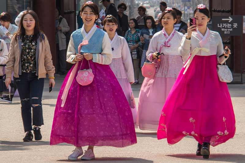 Image of Schoolgirls in Traditional Dress