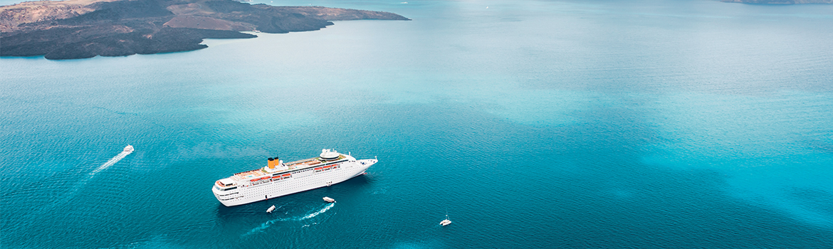 Image of cruise ship in blue ocean