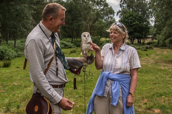 Image of Valery with Simon and Bobby the barn owl
