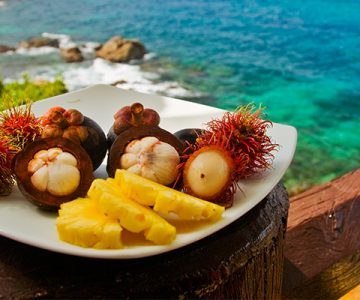 exotic fruits plate in caribbean