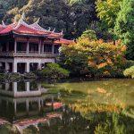 Japanese Building In Tokyo Garden Overlooking Lake