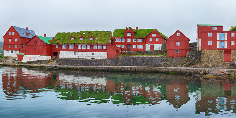 Tinganes, Red Government Offices with Turf Roof in the Faroe Islands