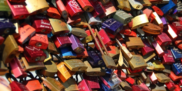 Padlocks Engraved With Messages Of Love on Bridge In Cologne