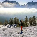 Skiier in Dolomites