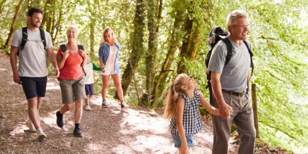 family on uk walking holiday