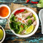 vietnam food with chop sticks