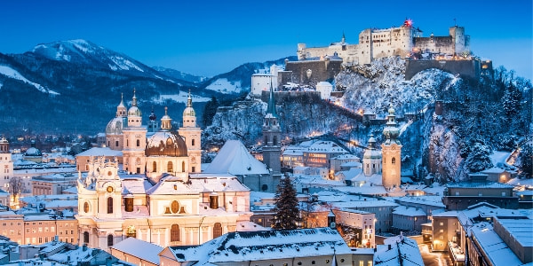 historic city of salzburg in winter