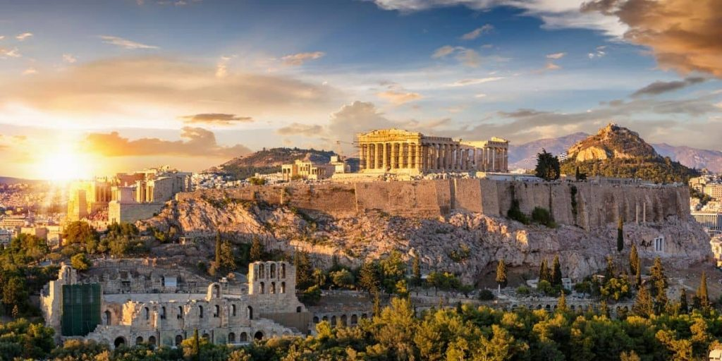 Parthenon Temple, Athens, Greece at sunset