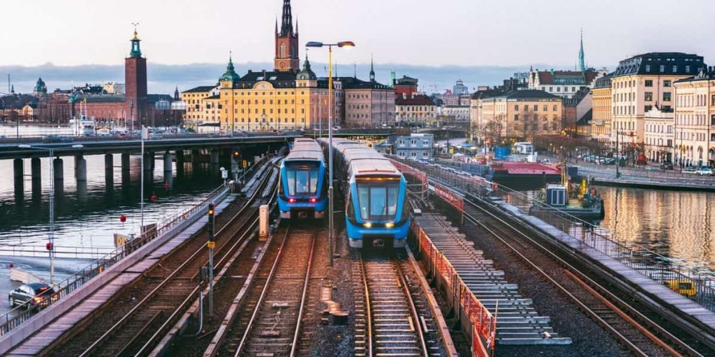 travelling by train in stockholm sweden