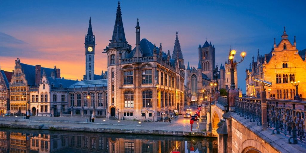 Ghent Belgium during twilight hour