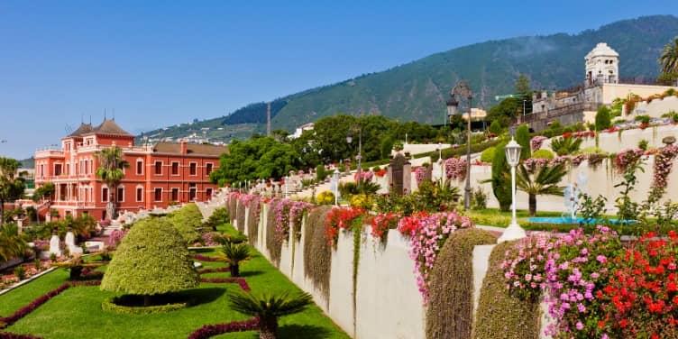 Views of the flower gardens in La Orotava in Tenerife