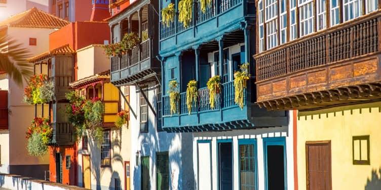 Colourful balconies and buildings in Santa Cruz