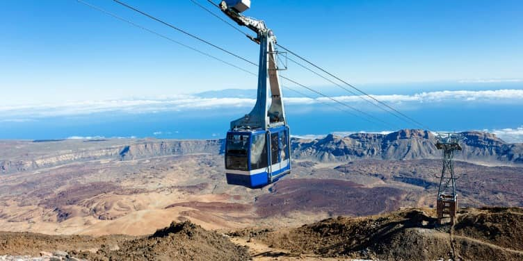 Cable car carries tourists to the top of Mount Teide