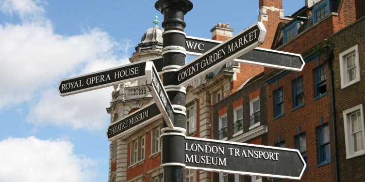 Covent Garden signpost in London