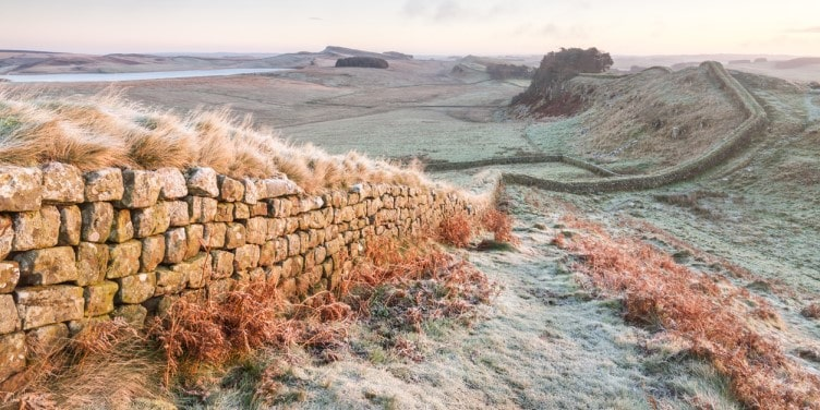 Hadrian's Wall on a cold and frosty morning
