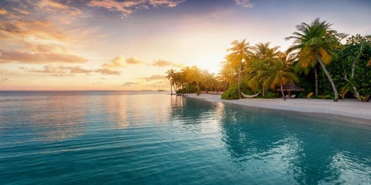 Sunrise landscape view in the Maldives
