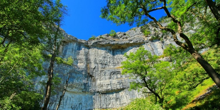 Looking up at Malham Cove, a large curved limestone formation surrounded by trees