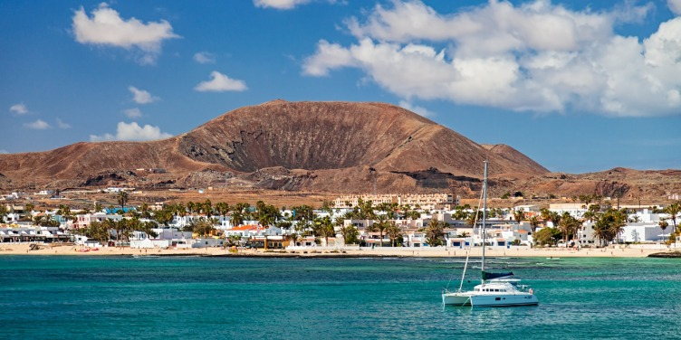 an image of the town of Corralejo, Fuertaventura from the sea