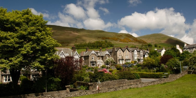 Houses lining the Main Street in Sedbergh in the Yorkshire Dales