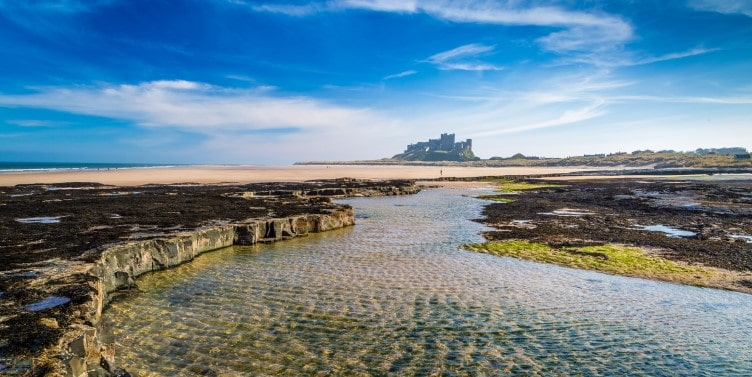 Northumberland coast featuring Bamburgh Castle