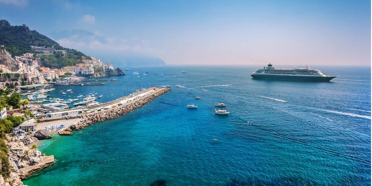 an image of a cruise ship off the Amalfi Coast