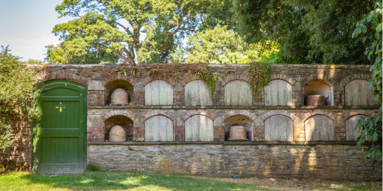 an image of a brick building, used as a bee hotel, in The Lost Gardens of Heligan, Cornwall