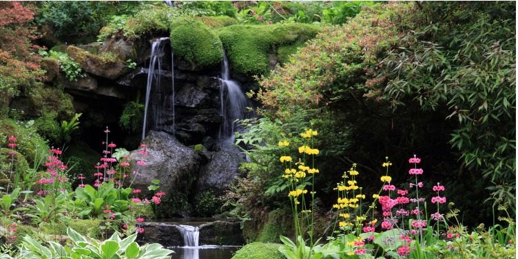 an image of the waterfall at Bodnant Gardens, Conwy