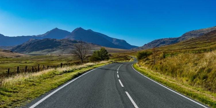 Winding mountain road in Snowdonia National Park