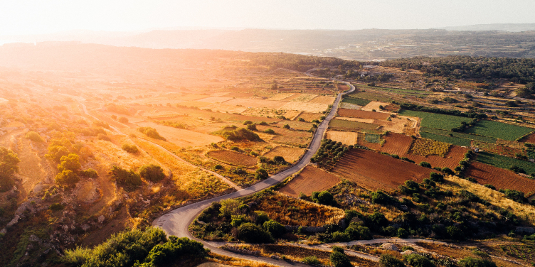 an image of the Malta countryside from above