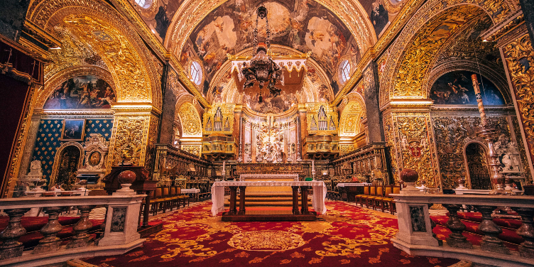 an image of inside St John's Cathedral, Valletta, Malta