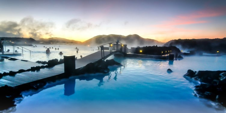 Sunrise at Blue Lagoon in Iceland