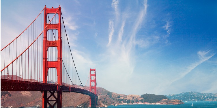 an image of the Golden Gate Bridge in San Francisco from the shore