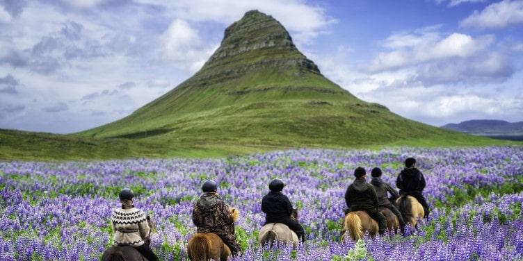 Tourists horse riding near Kirkjufell mountain