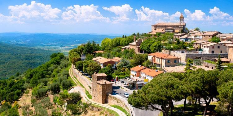 an image of the medieval town of Montalcino, Italy