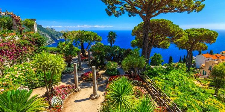 an image of an ornamental garden in Ravello, Italy