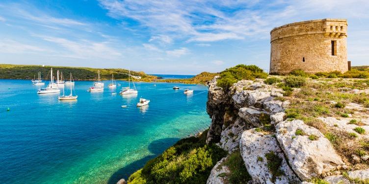 an image of the bay at La Mola, Menorca