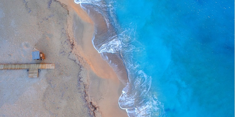 an image of a Menorca beach from above