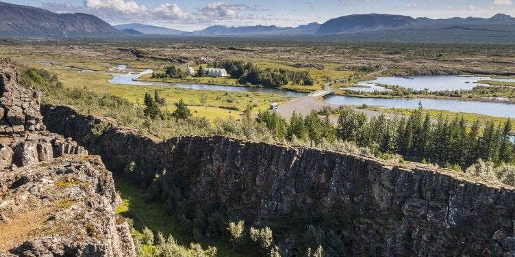 Thingvellir Valley sitting between two tectonic plates