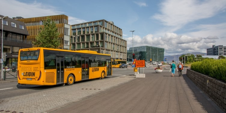 Yellow Reykjavik city bus